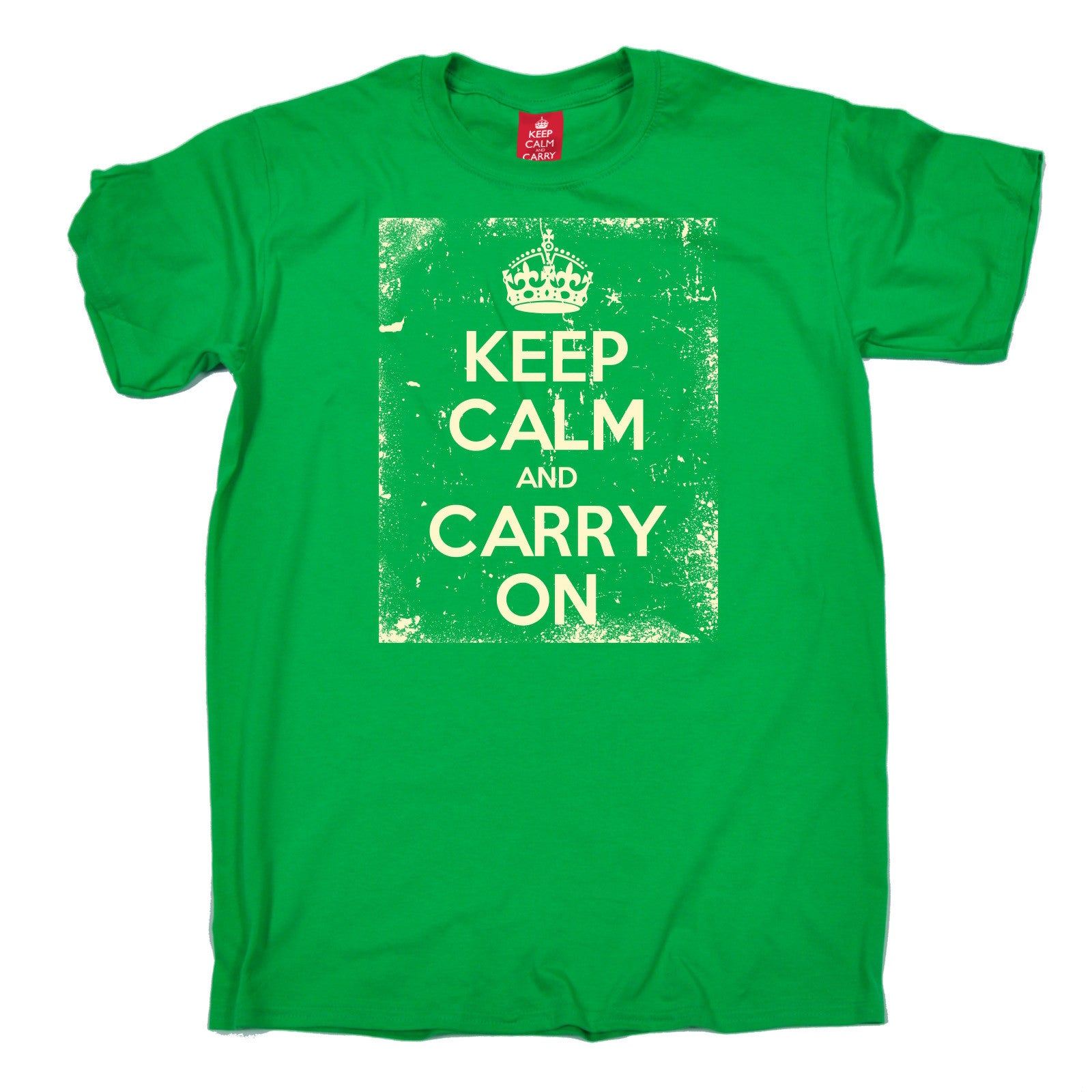 Keep Calm And Carry On T Shirt Distressed Design British