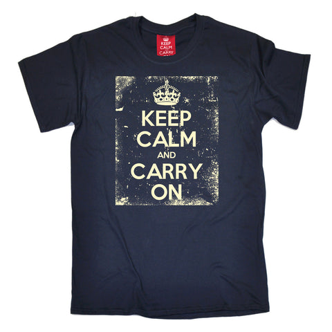 Men's Official Keep Calm And Carry On ... Distressed T-Shirt