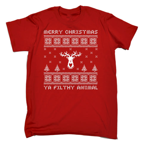 123t Men's Merry Christmas Ya Filthy Animal Funny T-Shirt