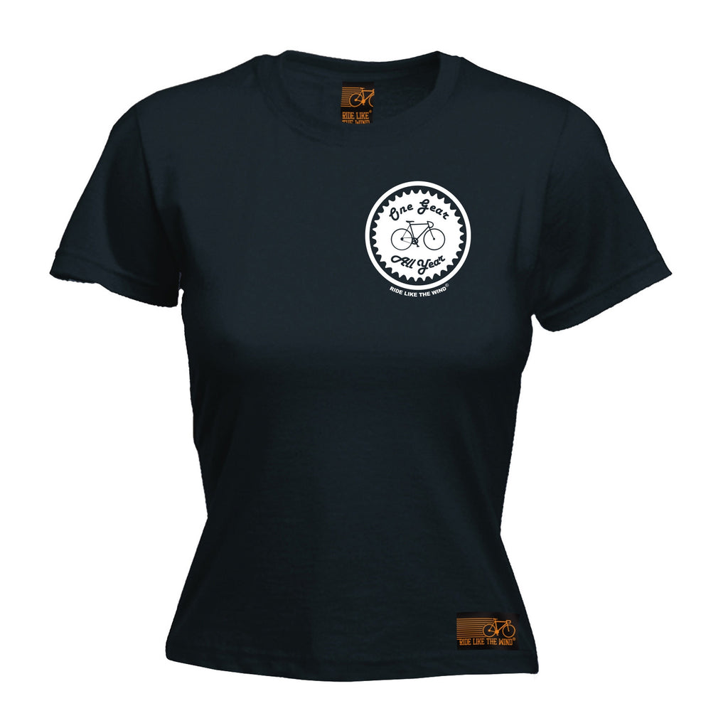 Ride Like The Wind Women's One Gear All Year Breast Pocket Design Cycling T-Shirt