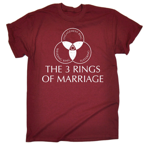 123t Men's The 3 Rings Of Marriage Engagement Wedding Suffering Design Funny T-Shirt