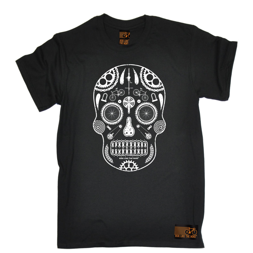 Ride Like The Wind Men's Candy Skull Bike Cycling T-Shirt