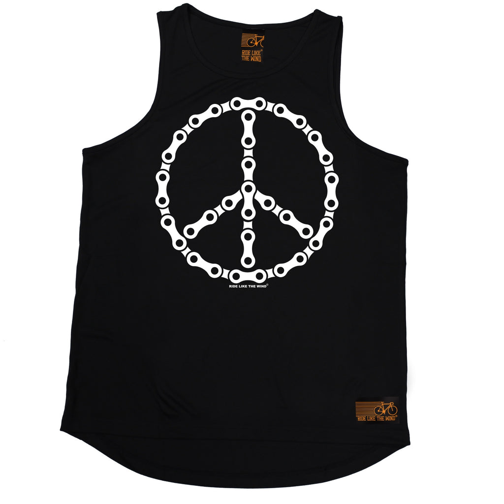Ride Like The Wind Peace Bicycle Chain Design Cycling Men's Training Vest Ride