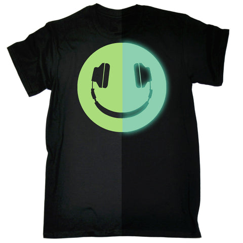 123t Men's Glow In The Dark Headphone Smiley Funny T-Shirt