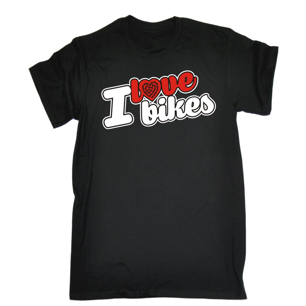 123t Men's I Love Bikes Chain Heart Design Funny T-Shirt