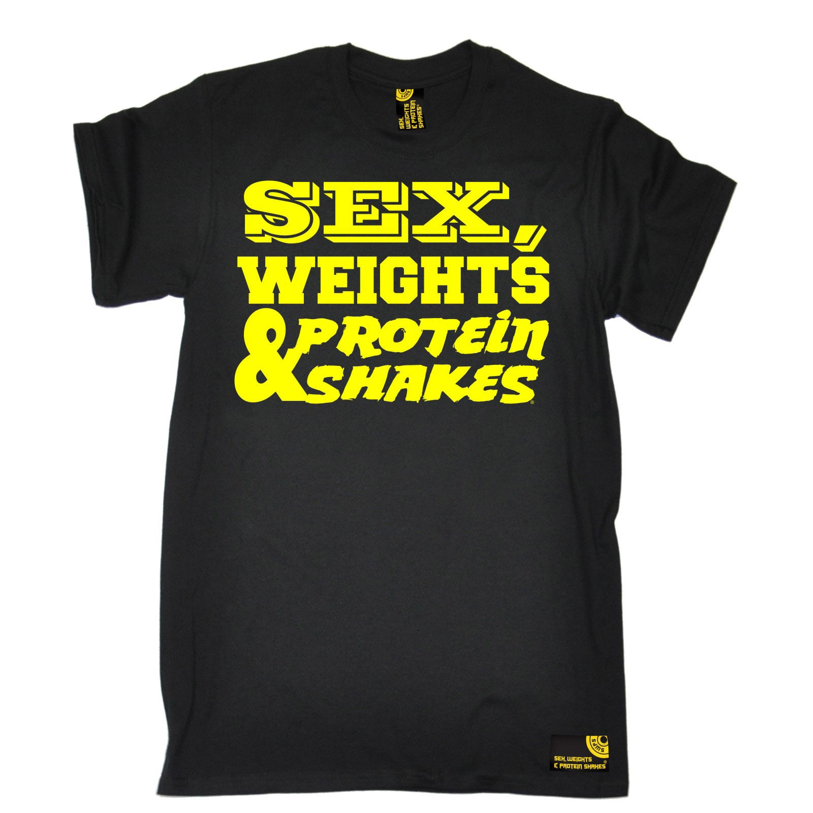 Design t shirt birthday - Sex Weights And Protein Shakes Yellow Design T