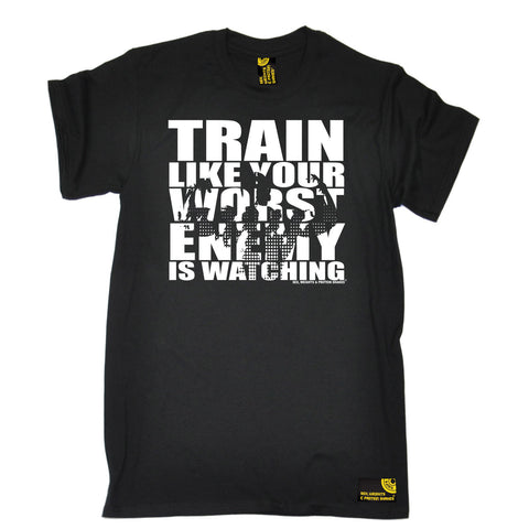 SWPS Men's Train Like Your Enemy Is Watching Sex Weights And Protein Shakes Gym T-Shirt