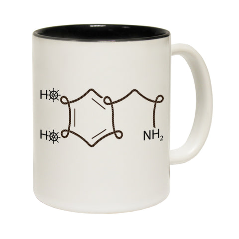 123T Funny Mugs - Ocean Bound Sailing Dopamine Chemical Structure - Coffee Cup