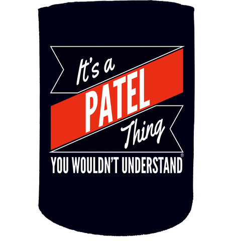 123t Stubby Holder - Patel Thing Surname - Funny Novelty Birthday Gift Joke Beer Can Bottle