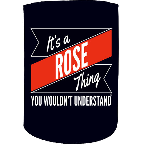 123t Stubby Holder - Rose Thing Surname Personalised - Funny Novelty Birthday Gift Joke Beer