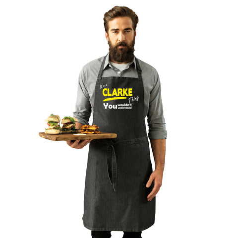 123t Its a CLARKE Thing Funny Joke Surname Family Adult Kitchen Cooking PREMIER APRON