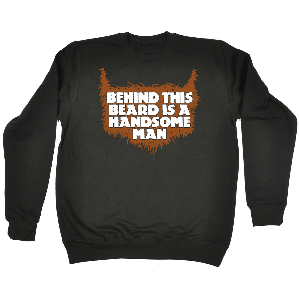 123t Behind This Beard Is A Handsome Man Funny Sweatshirt