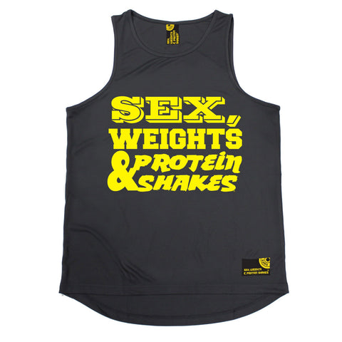 SWPS Yellow Text Design Sex Weights & Protein Shakes Gym Men's Training Vest