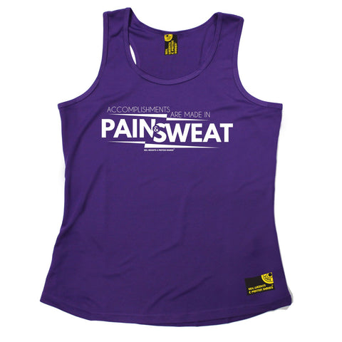 SWPS Accomplishments Are Made In Pain Sex Weights And Protein Shakes Gym Girlie Training Vest