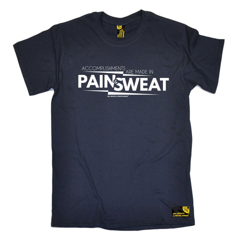 SWPS Men's Accomplishments Are Made In Pain Sex Weights And Protein Shakes Gym T-Shirt