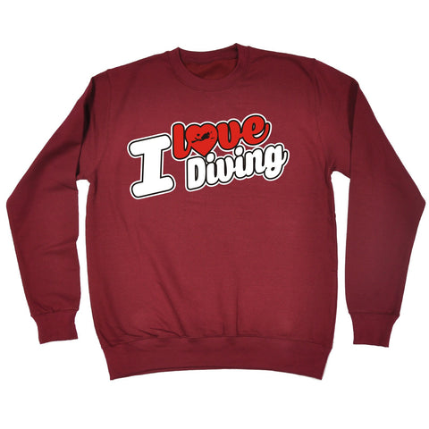 123t I Love Diving Scuba Heart Design Funny Sweatshirt