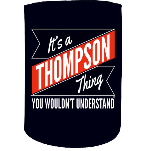 123t Stubby Holder - Thompson Thing Surname Personalised - Funny Novelty Birthday Gift Joke Beer