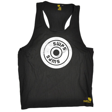 SWPS Weight Plate Big Logo Design Sex Weights And Protein Shakes Gym Men's Tank Top