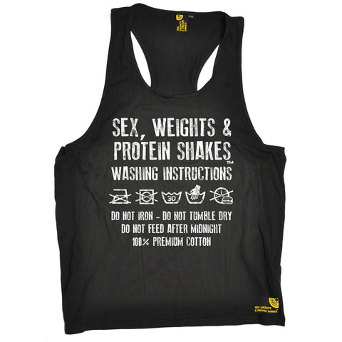 Sex Weights and Protein Shakes Washing Instructions Sex Weights And Protein Shakes Gym Tank Top