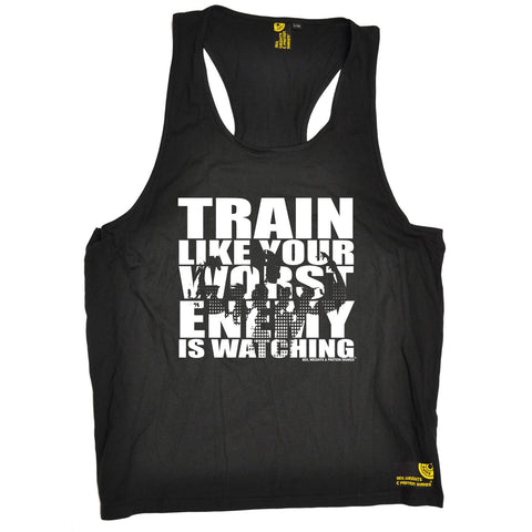 SWPS Train Like Your Enemy Is Watching Sex Weights And Protein Shakes Gym Men's Tank Top
