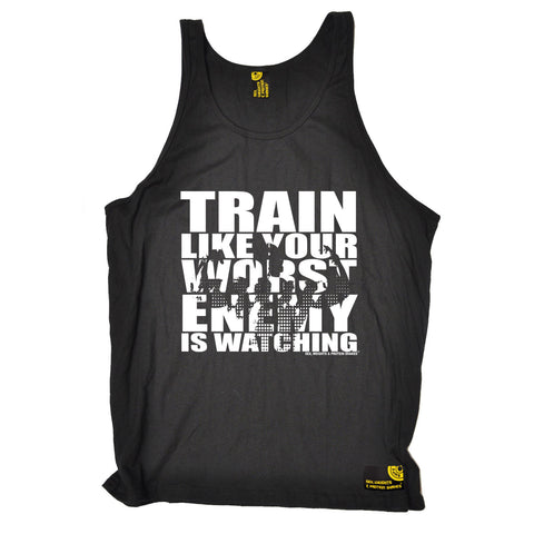 SWPS Train Like Your Enemy Is Watching Sex Weights And Protein Shakes Gym Vest Top