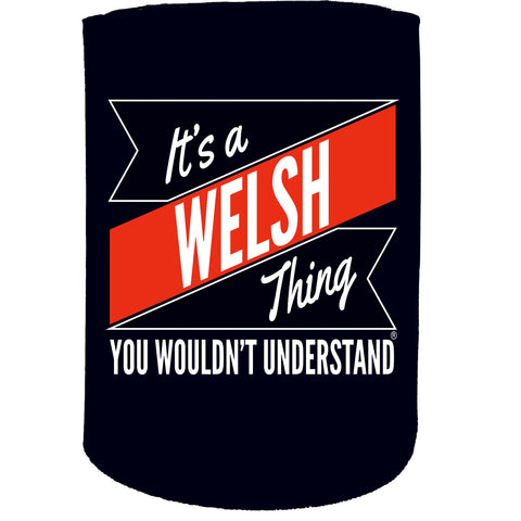 123t Stubby Holder - Welsh Thing Surname Personalised - Funny Novelty Birthday Gift Joke Beer