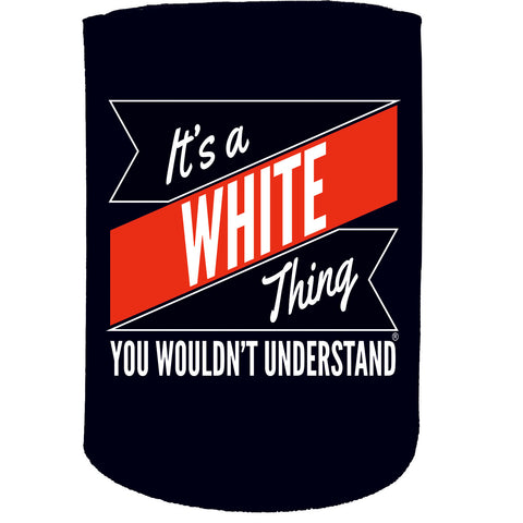 123t Stubby Holder - White Thing Surname Personalised - Funny Novelty Birthday Gift Joke Beer