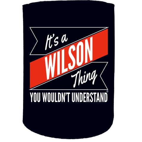 123t Stubby Holder - Wilson Thing Surname Personalised - Funny Novelty Birthday Gift Joke Beer