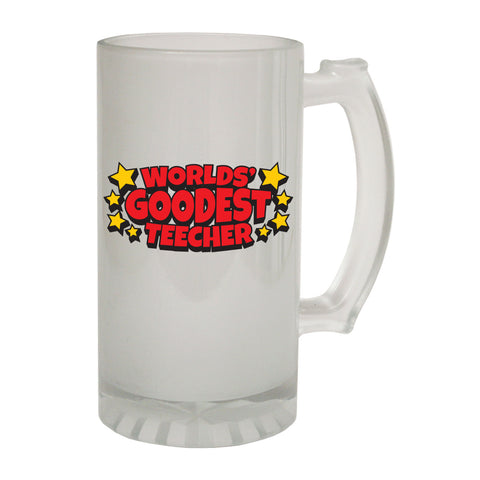 123t Frosted Glass Beer Stein - Worlds Goodest Teacher Joke - Funny Novelty Birthday