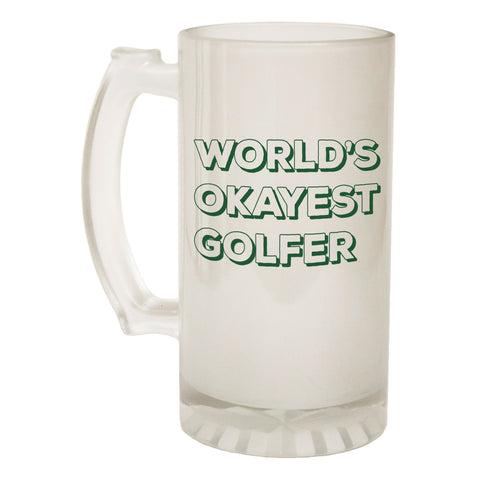 123t Frosted Glass Beer Stein - Worlds Okayest Golfer - Funny Novelty Birthday