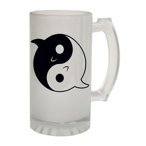 123t Frosted Glass Beer Stein - Ying Yang Shark Cute - Funny Novelty Birthday