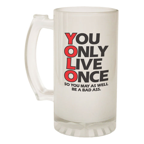 123t Frosted Glass Beer Stein - You Only Live Once - Funny Novelty Birthday