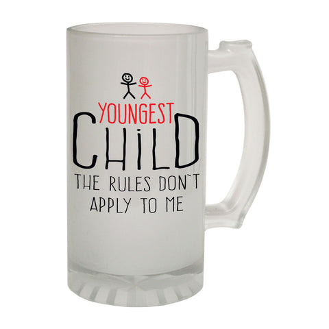 123t Frosted Glass Beer Stein - Youngest Child 2 Rules Family - Funny Novelty Birthday