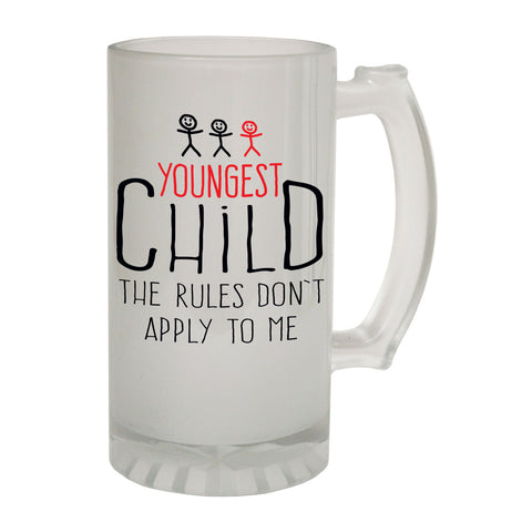123t Frosted Glass Beer Stein - Youngest Child 3 Rules Family - Funny Novelty Birthday