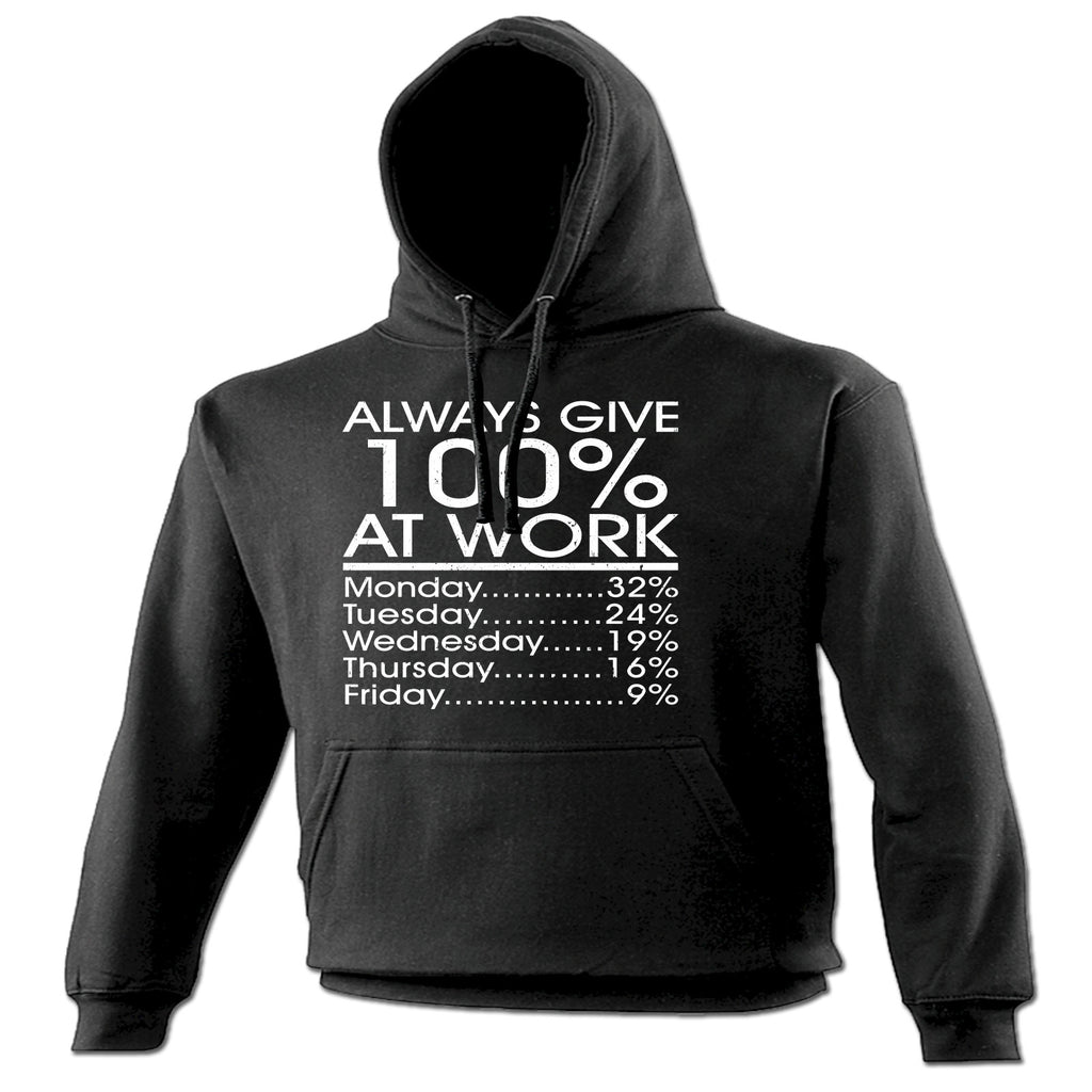 123t Always Give 100% At Work Monday 32% Friday 9% Funny Hoodie, 123t