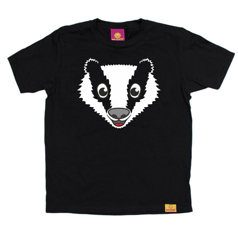Ani-Mates Badger Animals Kids T-Shirt - Fun Clothes Tees Boys Girls Tops