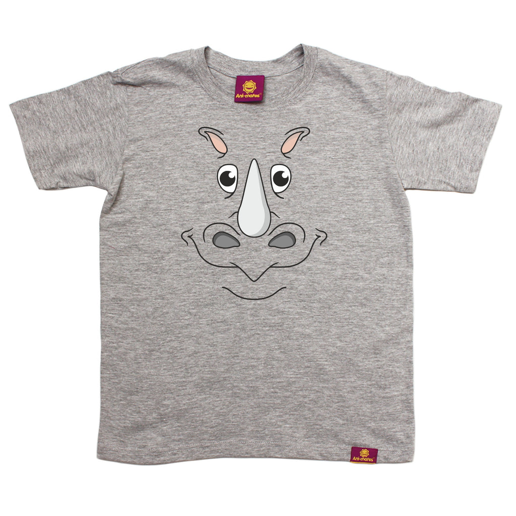 Ani-Mates Rhino Animals Kids T-Shirt - Fun Children Clothes Tees Boys Girls Tops