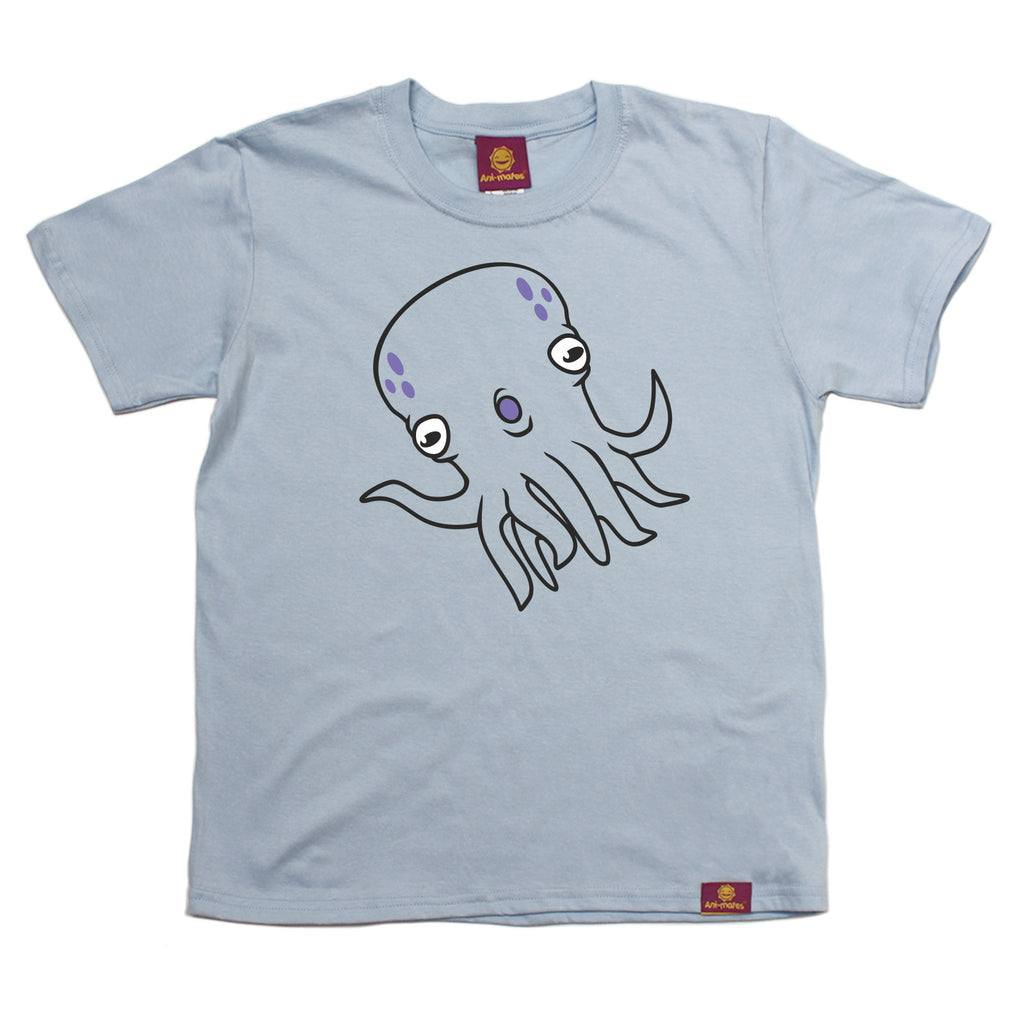 Ani-Mates Octopus Animals Kids T-Shirt - Fun Clothes Tees Boys Girls Tops
