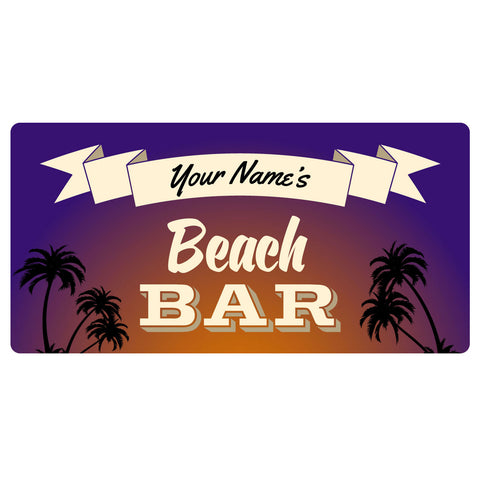 123t Your Name Beach Bar Personalised Funny Custom Bar Runner