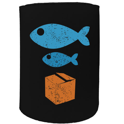 123t Stubby Holder - Big Fish Small Cardboard - Funny Novelty Birthday Gift Joke Beer Can Bottle