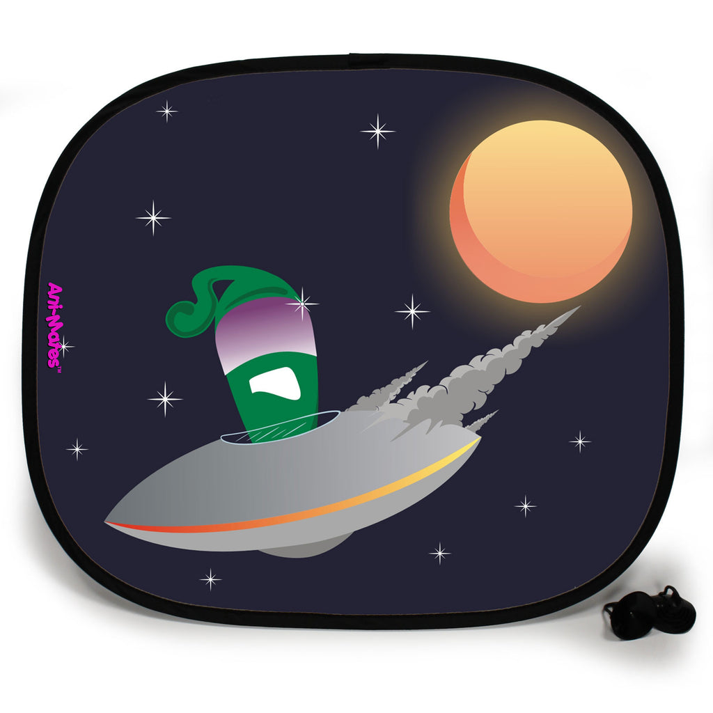 Ani-Mates Outta This World UFO Breakdown Personalised UV Protection Fun Vehicle Interior Window Car Sunshade