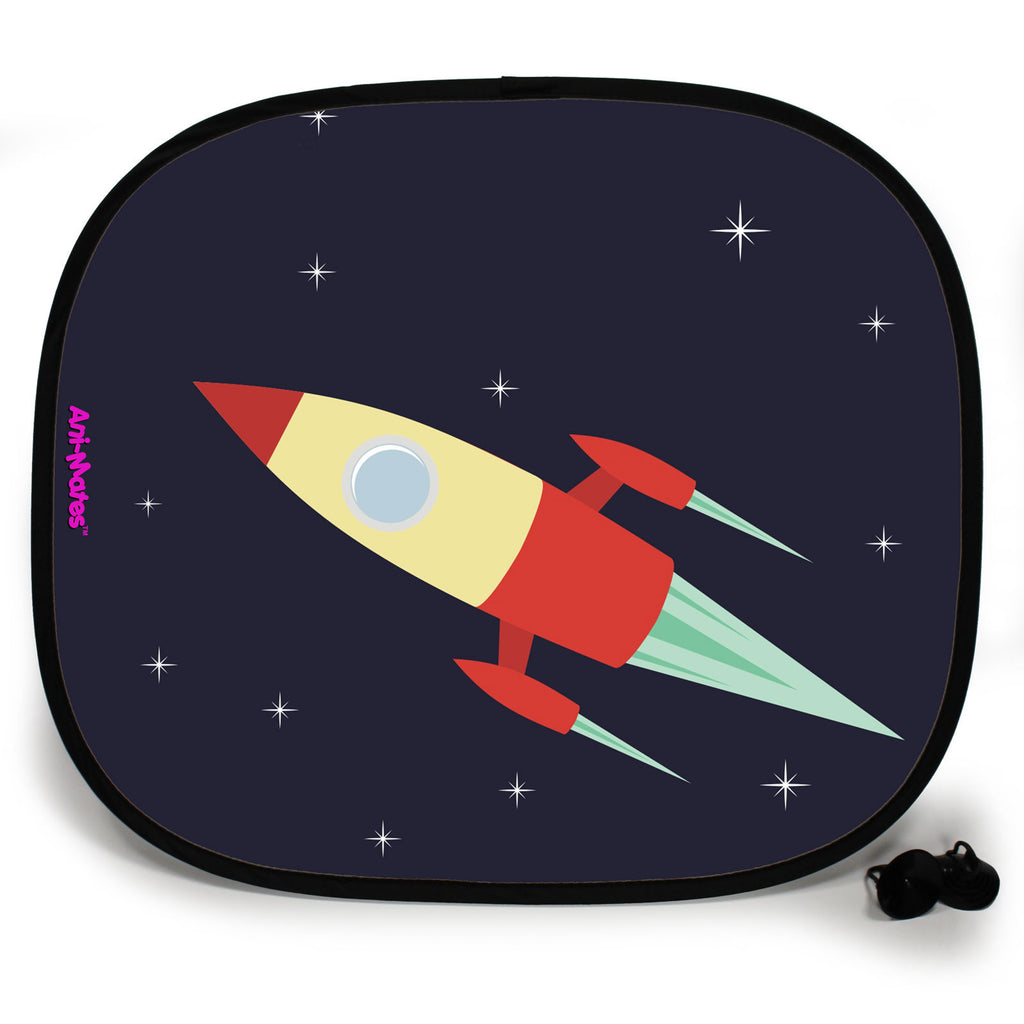 Ani-Mates Outta This World Blast Off Spaceship Personalised UV Protection Fun Vehicle Interior Window Car Sunshade