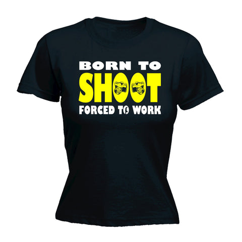 123t Women's Born To Shoot Forced To Work Camera Design Funny T-Shirt