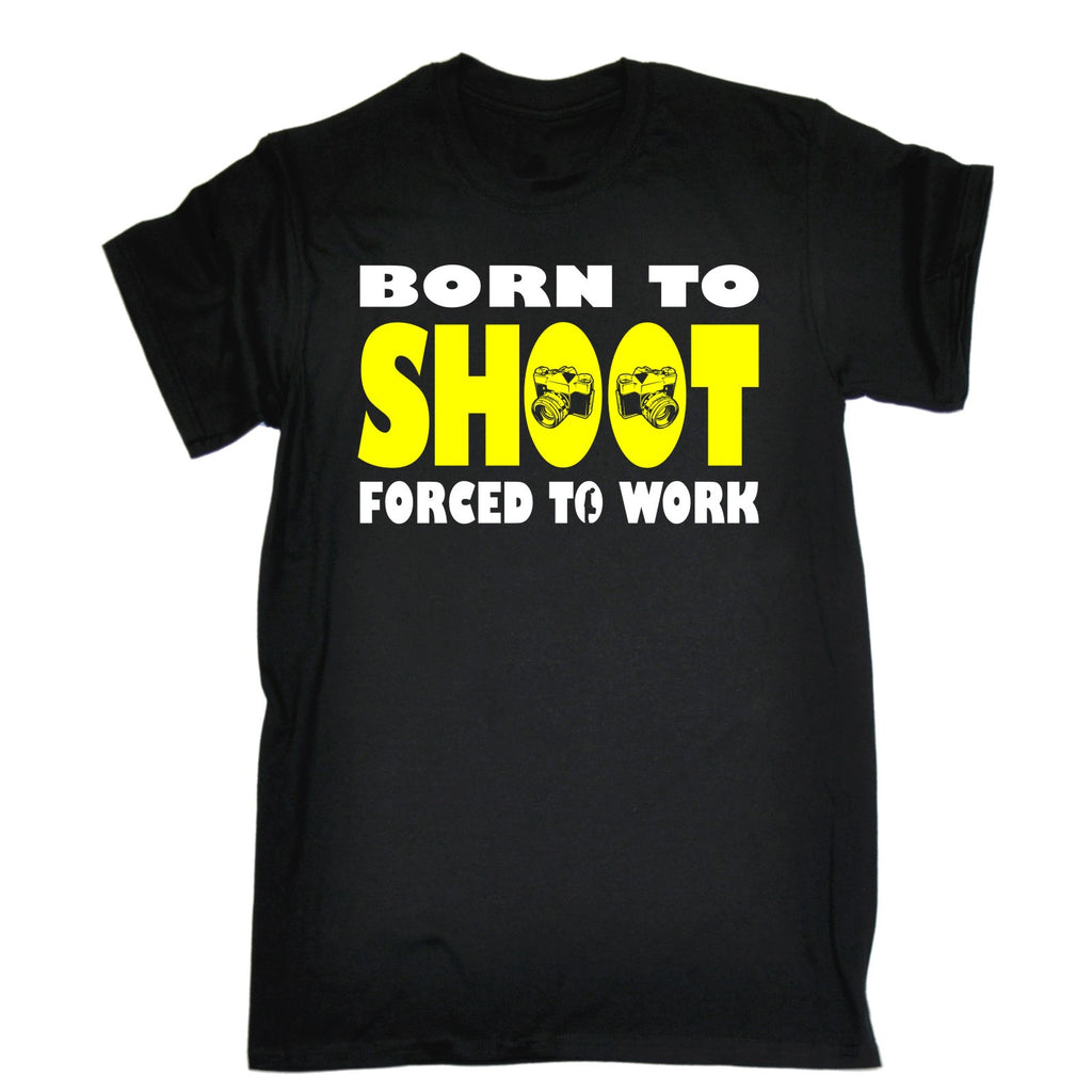 123t Men's Born To Shoot Forced To Work Camera Design Funny T-Shirt