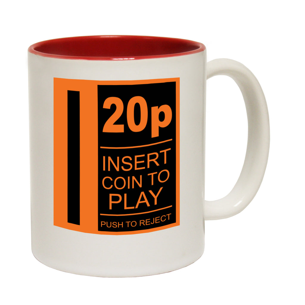 123t 20p Insert Coin To Play Funny Mug, 123t Mugs