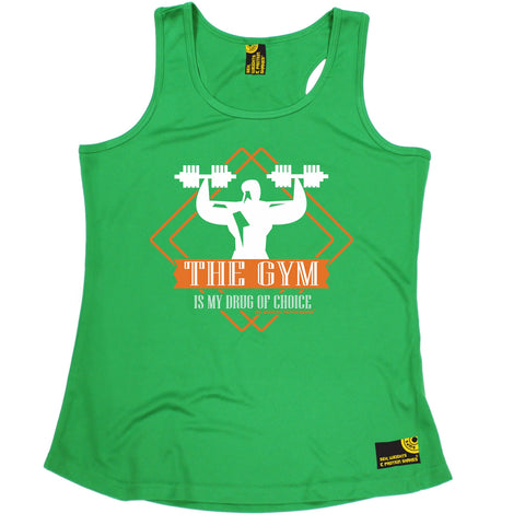 SWPS The Gym Is My Drug Of Choice Sex Weights And Protein Shakes Girlie Training Vest