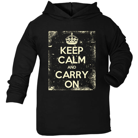 Official Keep Calm And Carry On ... Distressed Toddlers Cotton Hoodie