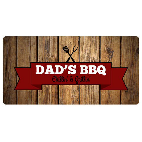 123t Dad's BBQ Chillin & Grillin Personalised Funny Custom Bar Runner - 123t clothing gifts presents