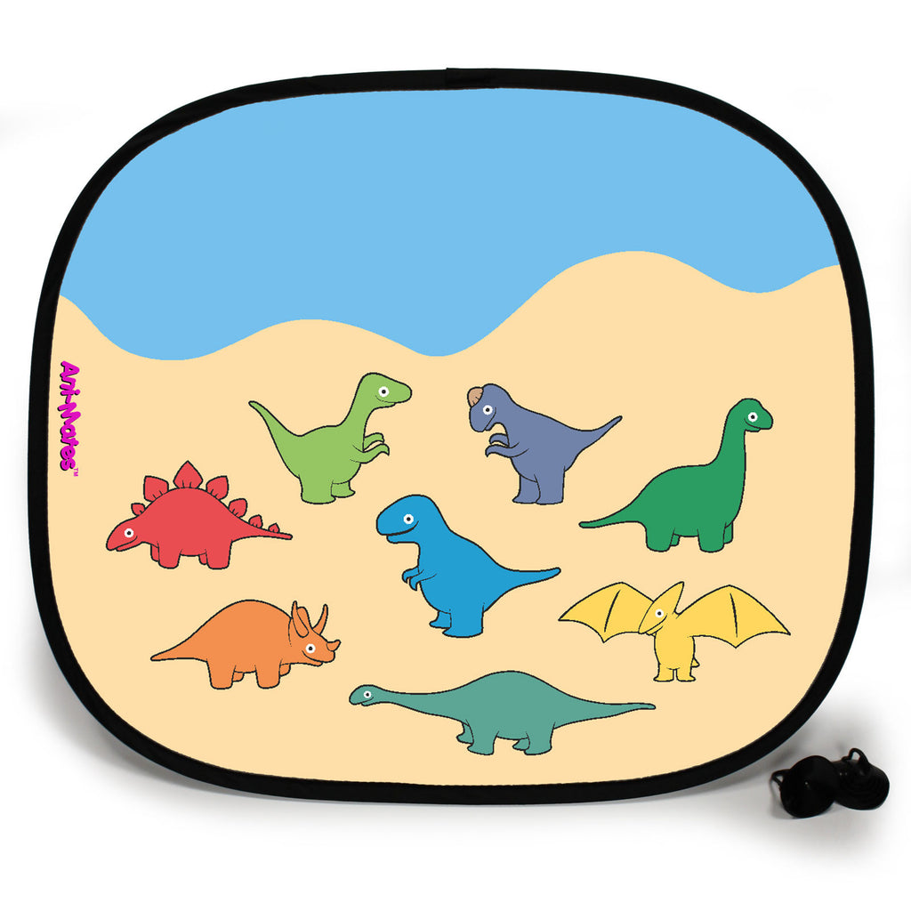 Ani-Mates Dinosaur Party Personalised UV Protection Fun Vehicle Interior Window Car Sunshade