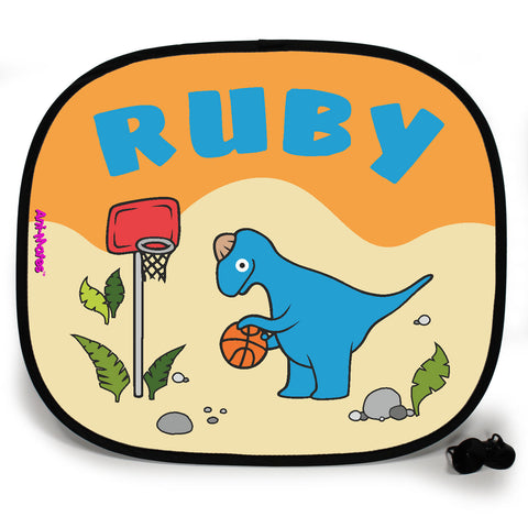 Ani-Mates Dinosaur Basketball Personalised UV Protection Fun Vehicle Interior Window Car Sunshade